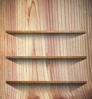 Ripiano in legno per libri o sfondo di presentazione del prodotto