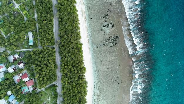 Ripresa aerea della spiaggia con le onde del mare e la giungla delle maldive