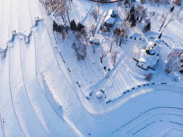 Ripresa aerea della vista principale della città di barnaul