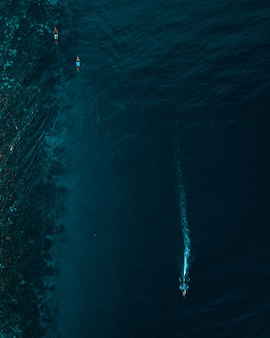 Ripresa aerea verticale di barche galleggianti sull'oceano