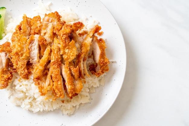 Riso al pollo hainanese con pollo fritto o zuppa di pollo al vapore di riso con pollo fritto, stile asiatico