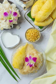 Riso appiccicoso dolce tailandese con il durian in un dessert.