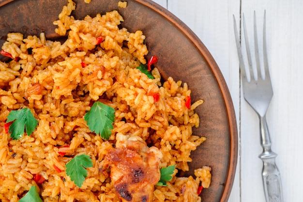 Riso cinese con verdure e pollo