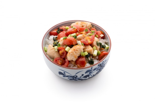 Riso con salsa di pomodoro pollo alimento cinese sull'isolato su