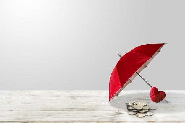Risparmio di denaro per investimenti sanitari. polizza assicurativa per l'accumulo di attività e concetto di fondo di assicurazione e salute degli investimenti