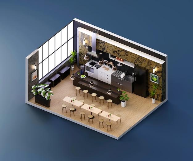 Ristorante con vista isometrica aperto all'interno dell'architettura d'interni, rendering 3d.