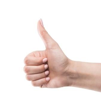 Ritaglia la mano gesticolando pollice in su