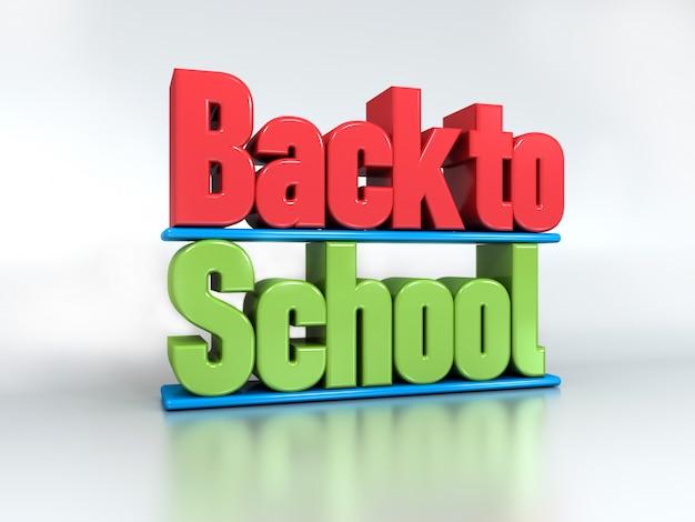 Ritorno a scuola 3d testo isolato