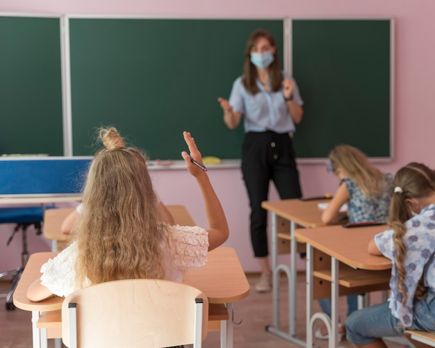 Ritorno a scuola durante il concetto covid