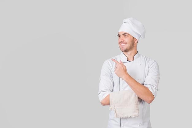 Ritratto del cuoco unico che presenta copyspace