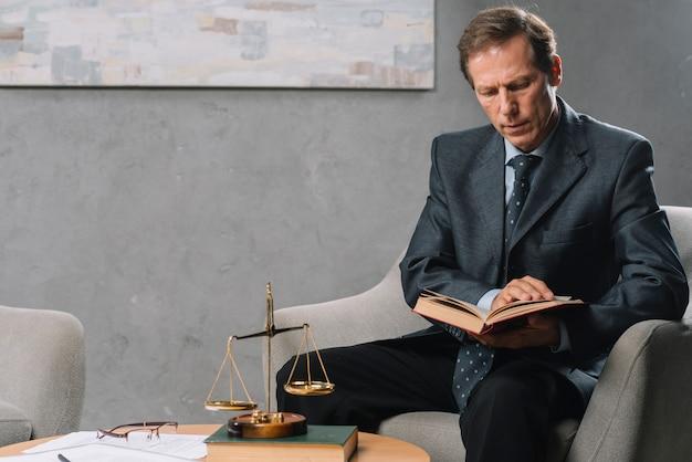 Ritratto del maschio maturo che si siede sulla sedia del bracciolo che legge libro legale