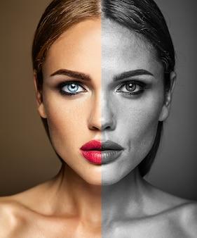 Ritratto del modello bella donna, prima e dopo il ritocco