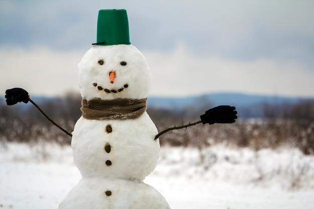 Ritratto del pupazzo di neve felice bianco con il naso di carota arancio