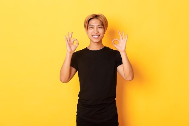 Ritratto del ragazzo asiatico fiducioso sorridente, che sembra soddisfatto, mostrando il gesto giusto, parete gialla