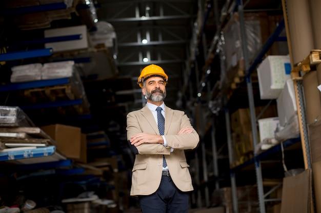 Ritratto dell'uomo d'affari senior in vestito con il casco in un magazzino