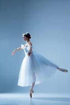 Ritratto della ballerina sulla parete blu