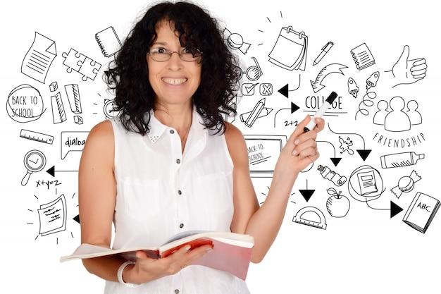 Ritratto di bello insegnante di scuola disegno schizzo di graduazione.