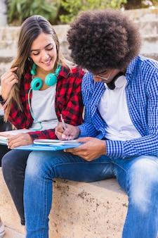 Ritratto di diversi studenti di sesso femminile e maschile studiando insieme all'aperto