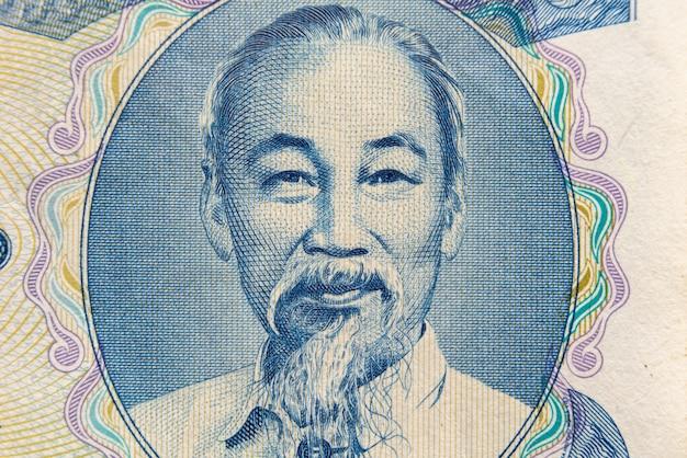 Ritratto di ho chi minh dalla banconota dei soldi vietnamita.