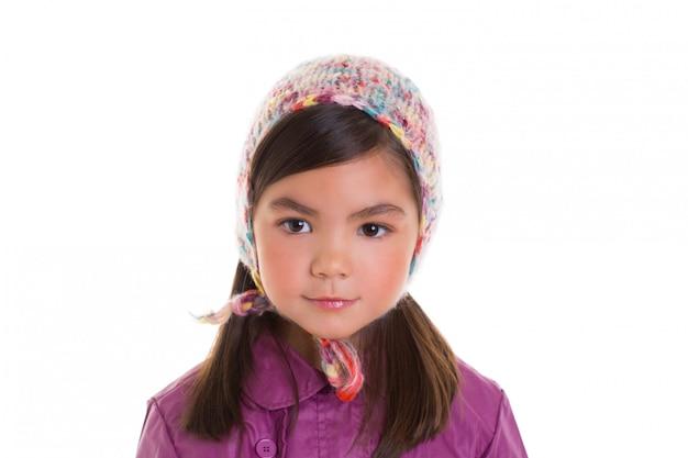 Ritratto di inverno della ragazza del bambino del bambino asiatico