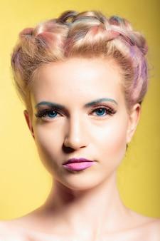 Ritratto di stile pinup di una giovane donna bellissima con gli occhi azzurri e il trucco. su uno sfondo giallo