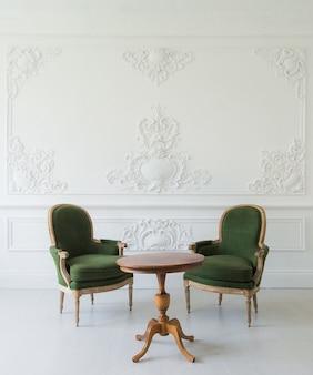 Ritratto di tavolo da toeletta vintage impostato con sgabello sopra elementi di design roccoco modanature in stucco bassorilievo a parete