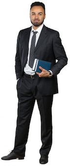 Ritratto di un uomo d'affari sorridente bello, isolato su bianco