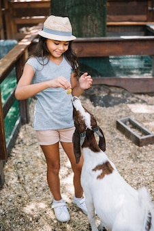 Ritratto di una ragazza carina sorridente che si alimenta alla capra nella fattoria