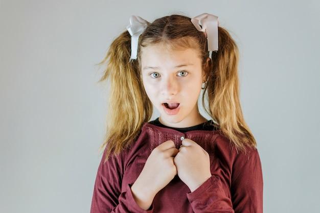 Ritratto di una ragazza con la bocca aperta