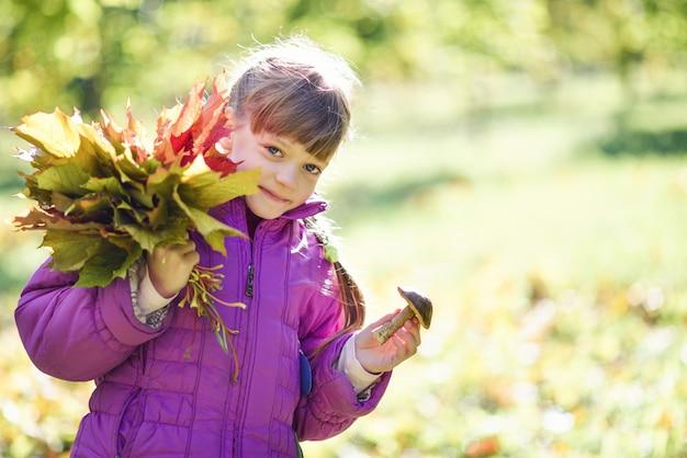 Ritratto di una ragazza in un parco con un mazzo di foglie