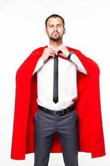 Ritratto di uomo d'affari attraente bello che indossa mantello luminoso isolato