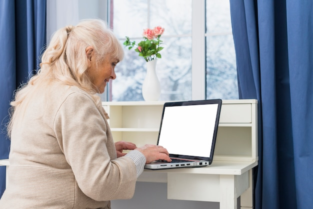 Ritratto sorridente della donna senior che si siede vicino alla finestra facendo uso del computer portatile