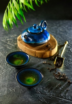 Rituale del tè cinese. cerimonia orientale del tè di fabbricazione del tè. impostazione del tavolo da tè.
