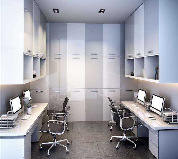 Riunione d'affari della rappresentazione 3d e stanza di funzionamento sull'edificio per uffici