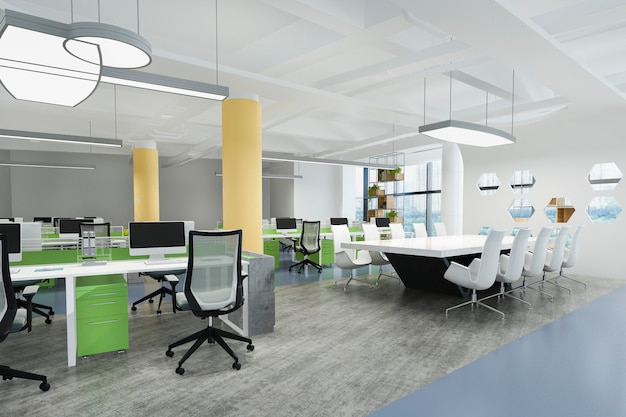 Riunione d'affari e stanza di lavoro della rappresentazione 3d sull'edificio per uffici con la decorazione verde e gialla