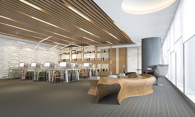 Riunione d'affari e stanza di lavoro della rappresentazione 3d sull'edificio per uffici