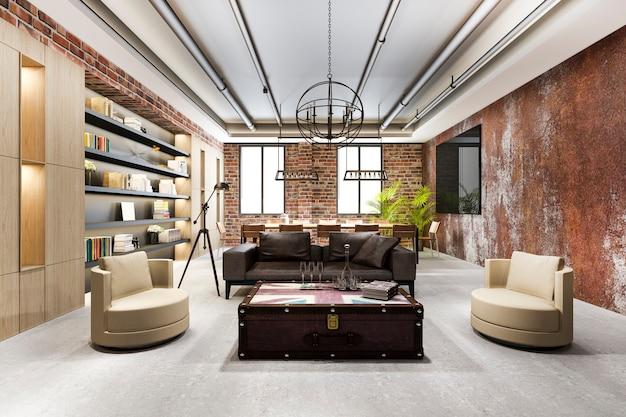 Riunione di lavoro di lusso e sala di lavoro in stile industriale in ufficio esecutivo con libreria