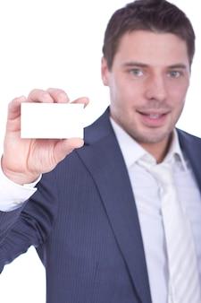 Riuscito uomo d'affari che mostra spazio in bianco vuoto