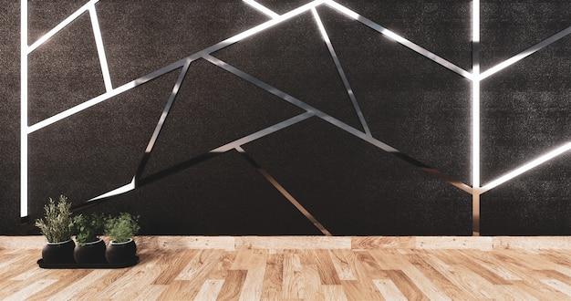 Rivestitore in alluminio su design a parete nera e pavimento in legno