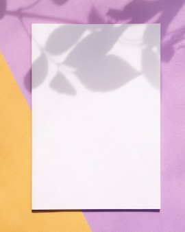 Rivista di mock-up vista dall'alto con sfondo colorato