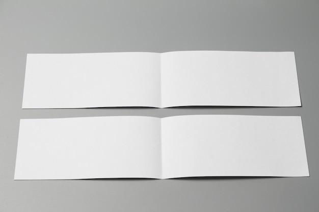 Rivista di opuscoli isolato su grigio