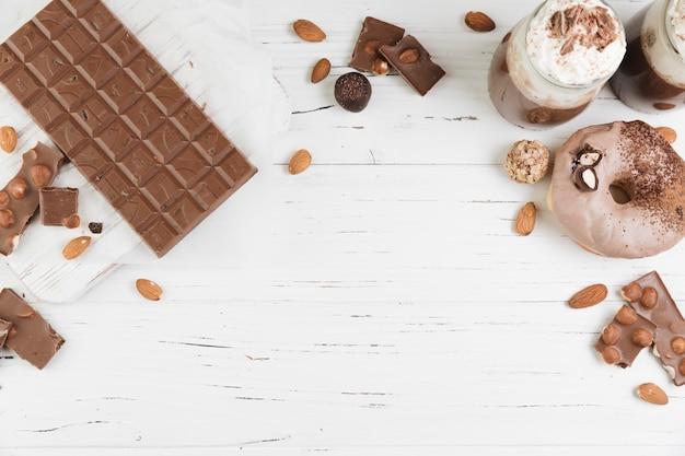 Roba di cioccolato vista dall'alto