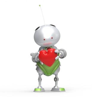 Robot 3d con cuore in mano. isolato