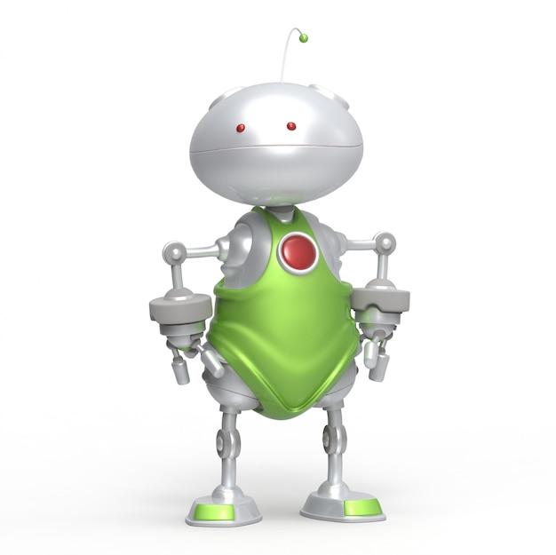 Robot 3d con le braccia tra i fianchi. isolato