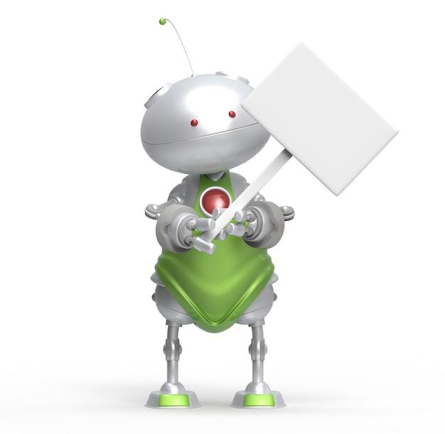 Robot 3d un cartello bianco. isolato. rendering 3d
