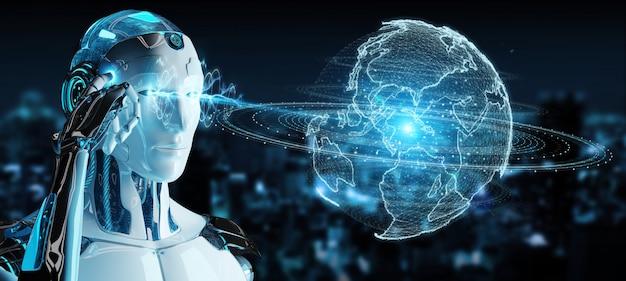 Robot bianco che utilizza l'ologramma della rete del globo con la mappa dell'america sua
