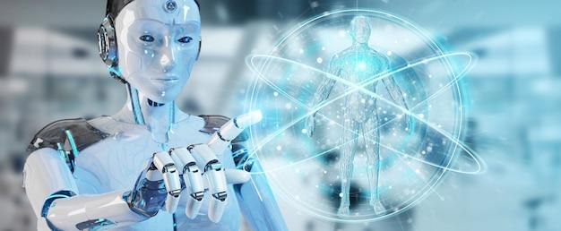Robot bianco della donna che esplora corpo umano