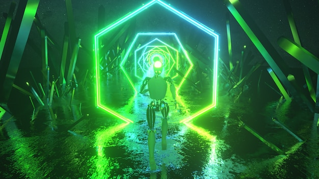 Robot che corre nello spazio esterno astratto lungo forme geometriche al neon e cristalli.