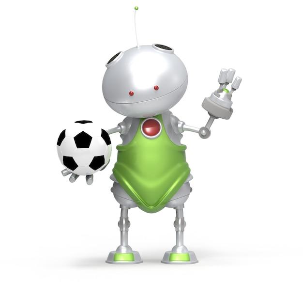 Robot che gioca a calcio, bianco isolato