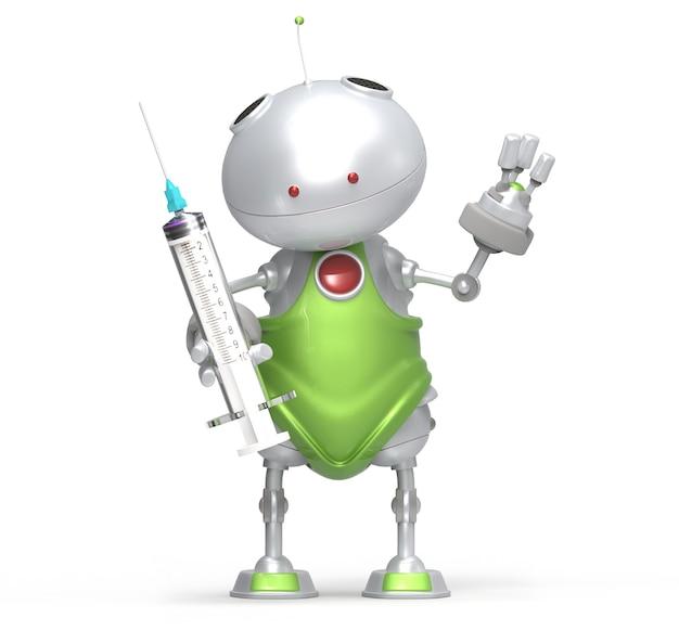 Robot con la siringa in mano, bianco isolato